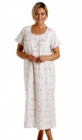 La Marquise Combed Cotton Long Length Short Sleeve Nightdress