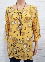 Minx Print Blouse With Necklace