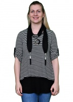 Saloos Stripe Print Layer Top with Neckscarf