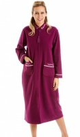 La Marquise Embroidered Fleece Zip Housecoat
