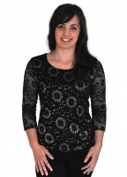 Claudia C Flower Lace Top