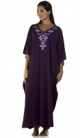 Floral Embroidered V Neck Kaftan