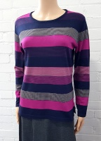 Claudia C Violet Mix Stripe Jumper