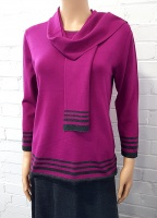 Claudia C Magenta Stripe Jumper and Scarf
