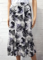 Claudia C Knitted 6 Panel Leaf Print Skirt