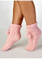 Slenderella Knitted Pom Pom Slipper Bed Sock