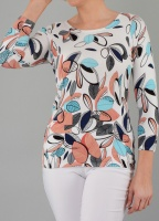 Claudia C Multi Colour Leaf Print Jumper