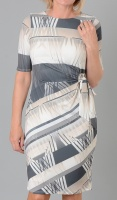 Claudia C Beige & Grey Side Tie Dress
