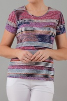 Claudia C Multi Stripe Print T-shirt
