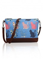Cat Print Crossbody Bag in Blue