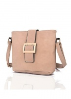 Front Buckle Crossbody Bag in Beige