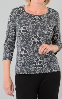 Claudia C Floral Print Grey Top