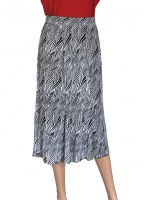 Claudia C Silky Knitted 6 Panel Print Skirt