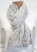 Infinity Flower and Stripe Print Scarf