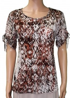 Florri Tie Short Sleeve Beige Print Top