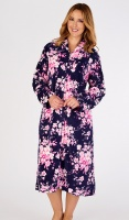 Slenderella Floral Print Fleece Zip Housecoat