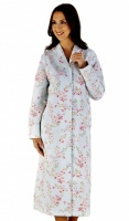 Slenderella Cotton Rich Mock Quilt Button Housecoat