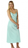 Marlon Plain Aqua Full Length Satin Chemise