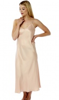 Marlon Plain Peach Full Length Satin Chemise