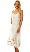 Marlon Full Length Cream Floral Chemise
