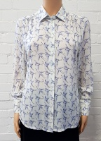 Double Two Bird Print Long Sleeve Blouse