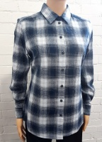 Double Two Blue Check Long Sleeve Blouse