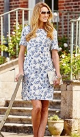 Double Two Floral Print Short Sleeve Dress