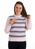 Pure Cotton Stripe and Floral Round Neck Jumper