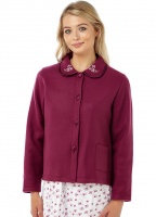 Marlon Embroidered Collar Fleece Bed Jacket
