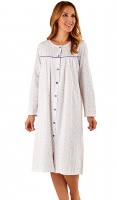 Slenderella Pure Cotton Floral Button Through Nightdress