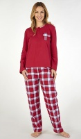 Slenderella Pure Cotton Jersey Top Check Trouser Pyjama