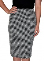 Saloos Diamond Weave Print Straight Skirt