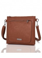 Front Zip Pocket Crossbody Bag in Tan