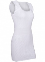 White Swan Long Built Up Shoulder Cotton Vest