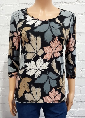 Claudia C Leaf Print Top