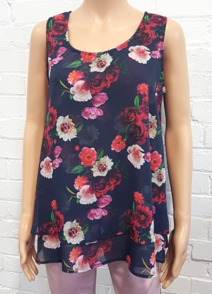 Divine Sleeveless Floral Bell Top
