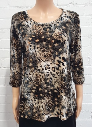 Claudia C Velvet Animal Print Top
