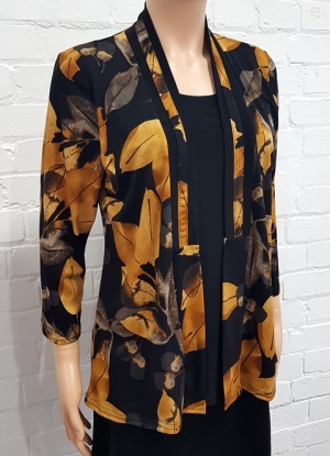 Claudia C Leaf Mock Top And Jacket