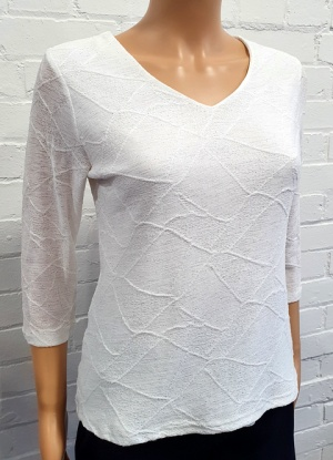 Claudia C Cream Pattern V Neck Top