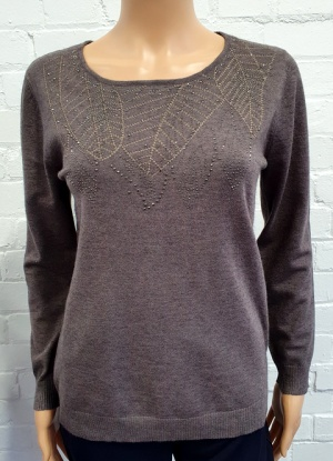 Claudia C Truffle Diamante Jumper