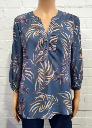 Claudia C Leaf Print Blouse