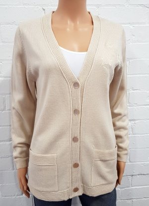 Classic V Neck Embroidered Cardigan