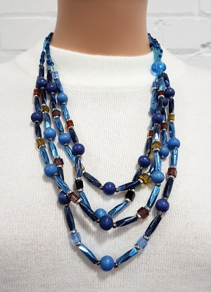 Xebu Blue Beaded Necklace