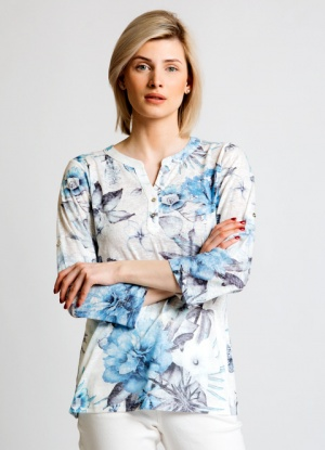 Jessica Graaf Printed Burnout Fabric Blouse