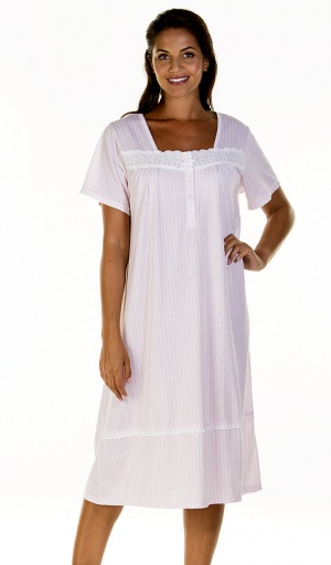 La Marquise Stripe Elegance Short Sleeve Nightdress