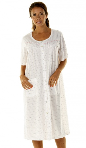 La Marquise Tea Time Dots Button Through Nightdress