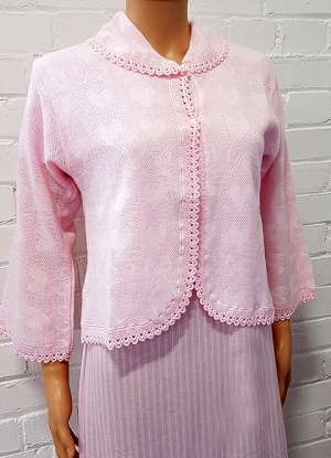 LuxLux Brushed Collared & Button Bed Jacket