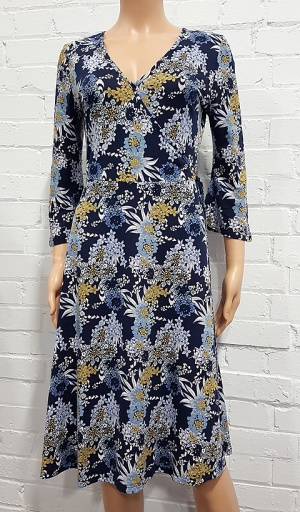 Mock Wrap Front Floral Dress