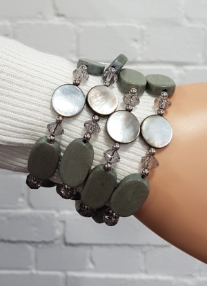 Xebu Four Strand Green/Grey Bead Bracelet
