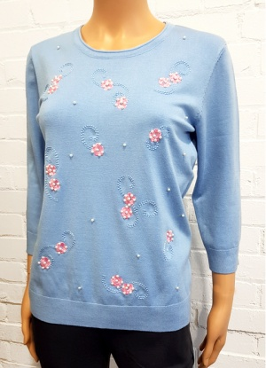 Mudflorer Pearl And Embroidered Floral Jumper